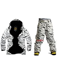 Southplay Mens Waterproof Ski-snowboard Military Jacket + Pants SET White Camo (Large)