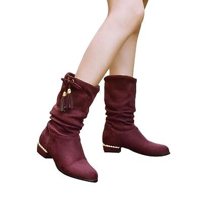 Bottes Hautes en Daim Femme,Overdose Hiver Soldes Bottines Talon Plat  Chaussures Bout Pointu Boots 326215092679