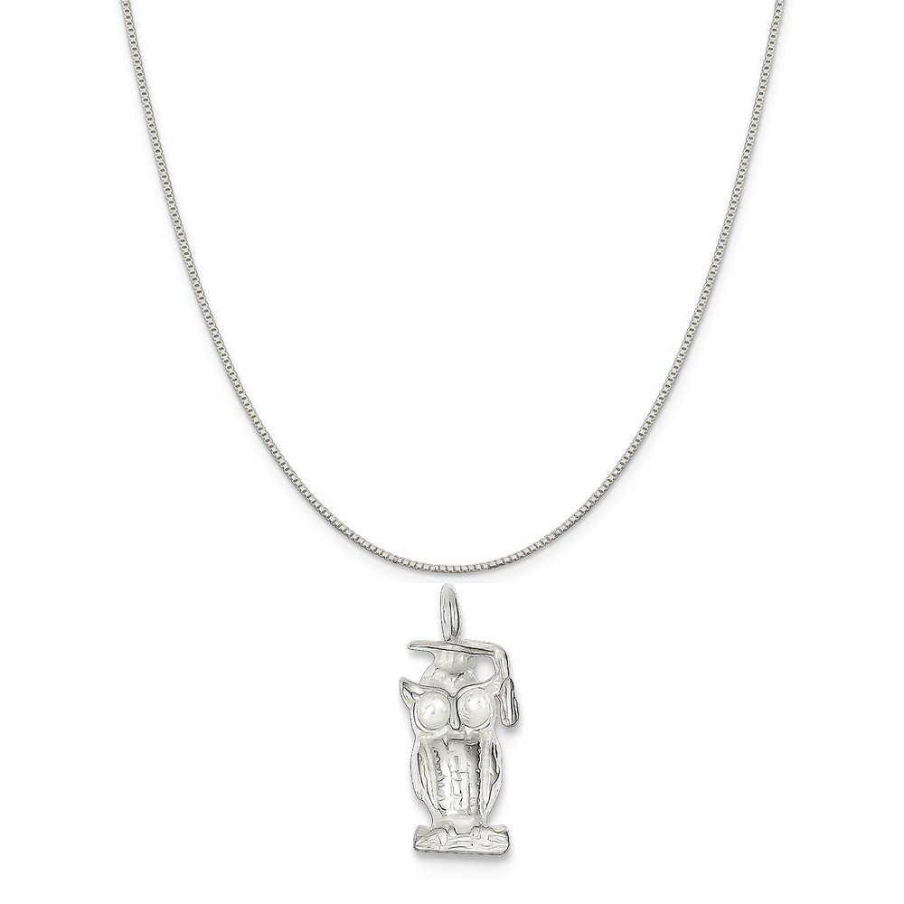 16-20 Mireval Sterling Silver Graduation Owl Charm on a Sterling Silver Chain Necklace