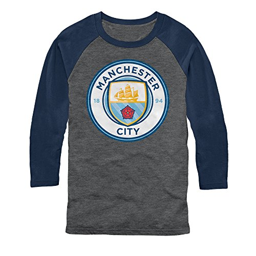 Manchester City Football Club Men's Team Logo Arctic Gray/Dark Navy Baseball Tee ()