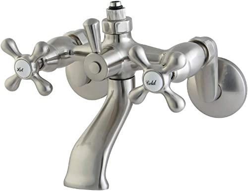 Kingston Brass CC2668 Vintage Wall Mount Tub Faucet with Riser Adaptor, Brushed Nickel