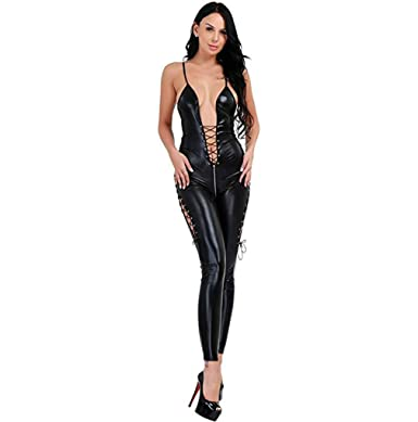 7aa5176dbf Amazon.com  Seogva Womens V-Neck Sexy LingerieSexy Faux Leather Sleeveless  Backless Adjustable Sling Jumpsuits Clubwear Cosplay Suit(XL US12 14)  Black  ...