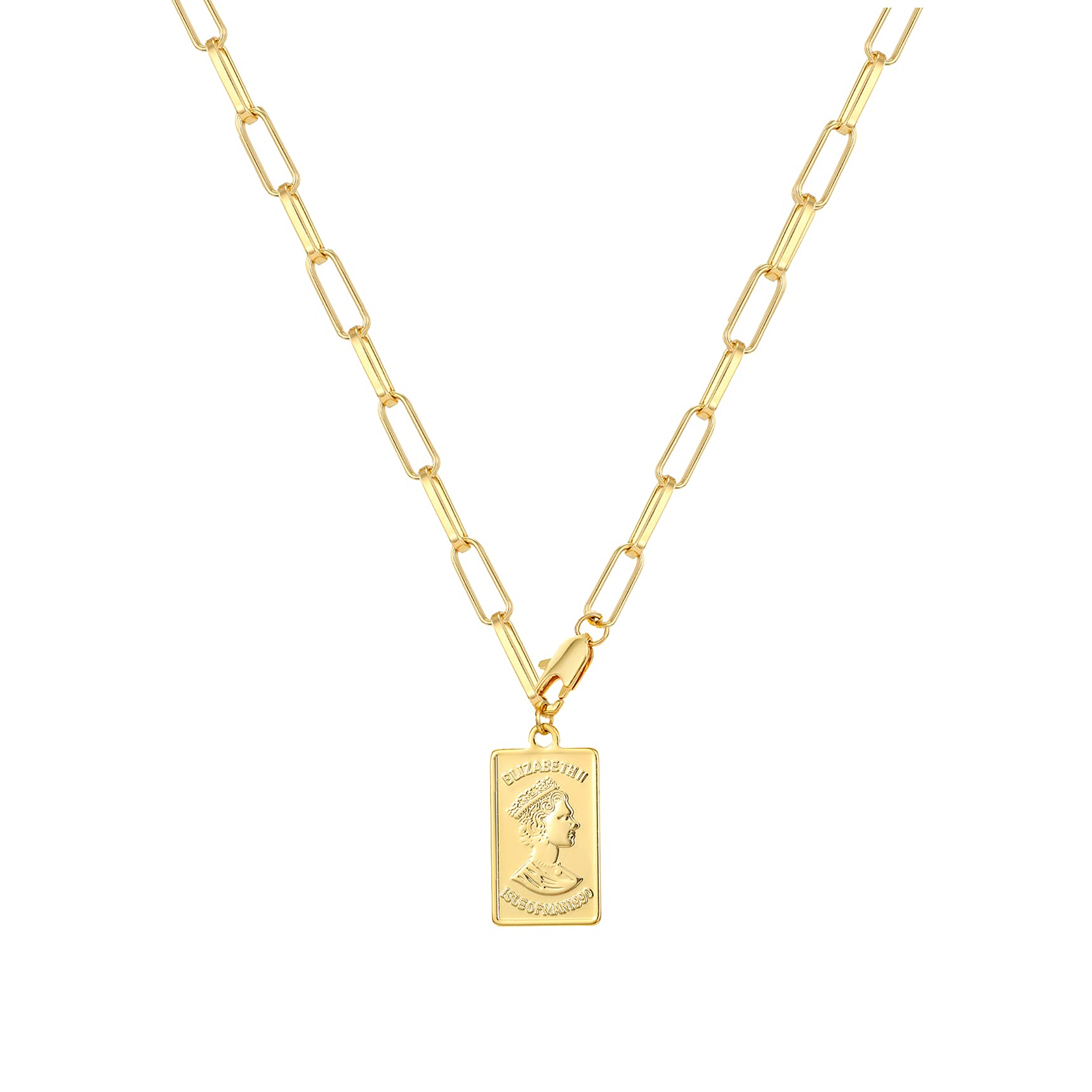 sovesi 14K Gold Plated Paperclip Chain Necklaces for Women Dainty Paperclip Link