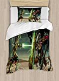 Anime Decor Duvet Cover Set by Ambesonne, Animal Comics Superheros with Dangerous Wild Powers Goat With Rays Lights Print, 2 Piece Bedding Set with Pillow Sham, Twin / Twin XL, Multicolor