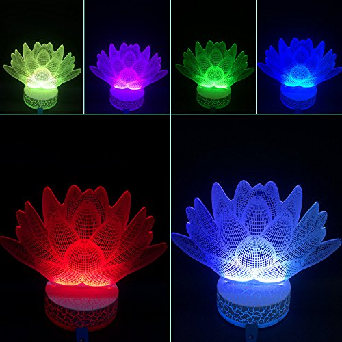 AZALCO 3D Illusion Led Night Light Lotus (Lotus Fixture)