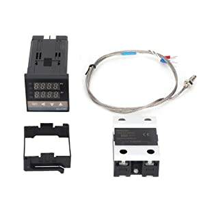 Thermostat, 0-400℃ LED PID AC110V-240V Temperature Controller Digital Thermostat Kit Used in Electric Power,Chemical Industry,Injection Molding,Food,Incubator