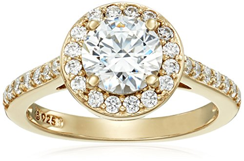 Yellow-Gold-Plated Sterling Silver Round-Cut Halo Ring made with Swarovski Zirconia, Size 8