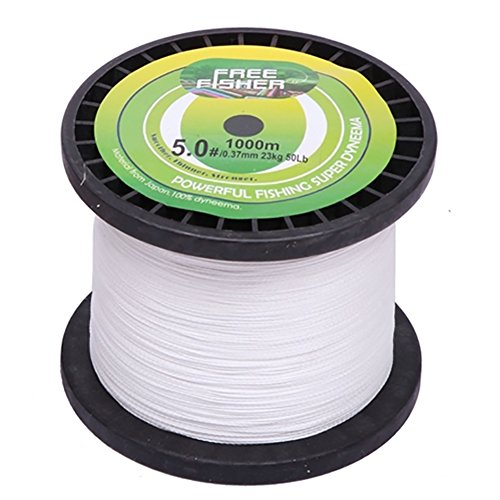 LSERVER 1000M 1094 Yds Spectra PE Dyneema Superbraid Braided Fishing Line 4 Strands White (Braided Spectra Yds Fishing Line)