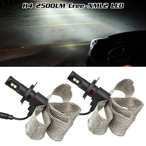 9003 HB2 5000LM/Pair(2500/pc) 40W IN TOTALLY Super Bright 2-Cree-XML2 Xenon White 6500K HID High Power Each One 20W 2500Lumen Headlight Dual Beam Headlamp High Low Beam All in One LED Dissipation Belt Copper Heatsink Projector Bulb ()