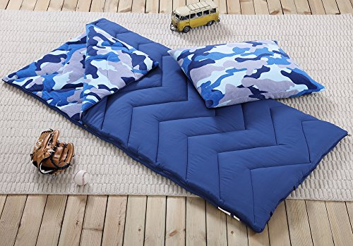 Sleeping Bag and Pillow Cover, Blue Camo Indoor Outdoor Camping Youth Kids Boys (Kids Sleeping Bags Boys)