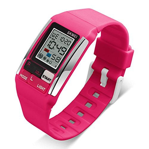 Unisex Bracelet Wrist Watch Casual Sport Use with Date Calendar LED Night Light Alarm Digital Watches (Pink)