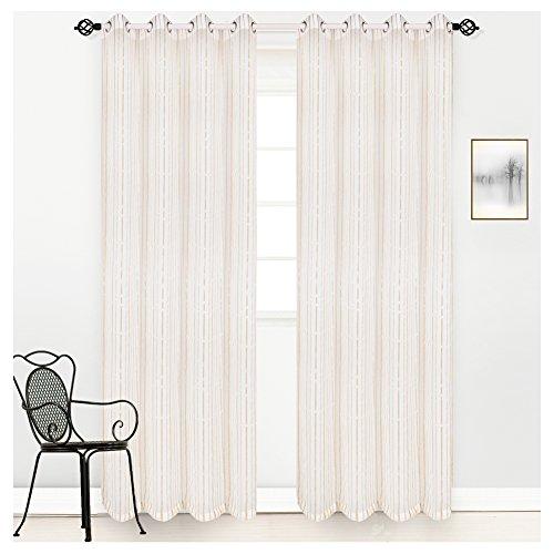 hite Sheer Voile Window Grommet Curtain Panel Single Panel (Neutral Stripe)