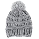 Clode Baby Beanie, for 2-6 Years Old Cute Boys Girls Boys Bobble Thick Knit Beanie Hat Pompom Cap (Grey)