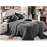 Comfy Luxe Faux Fur 6pcs Soft Blanket Set,King Size- Grey