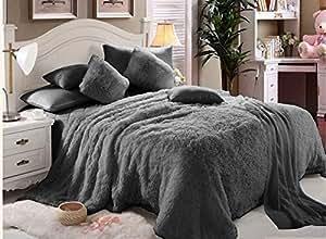 Comfy Luxe Faux Fur 6pcs Soft Blanket Set,King Size- Grey