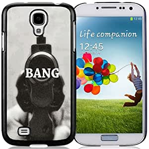 Beautiful Unique Designed Samsung Galaxy S4 I9500 i337 M919 i545 r970 l720 Phone Case With Revolver Gun Bang_Black Phone Case