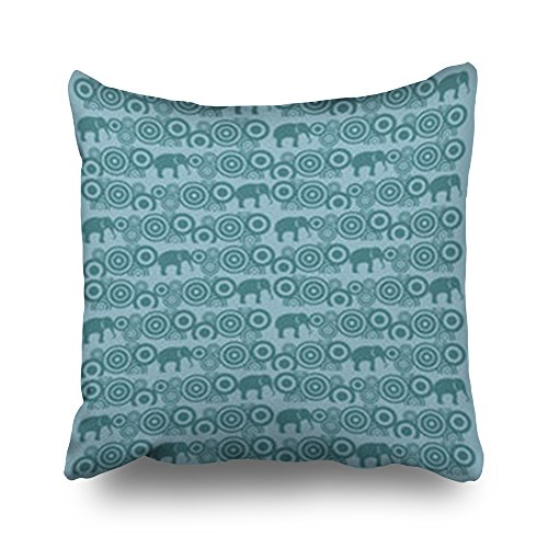 Home Decor Throw Pillow Covers Indian Elephant Motif Wildlife Textures Turquoise Square Size 20 x 20 Inches Design Pillowcases Decorative Zippered Cushion Cases