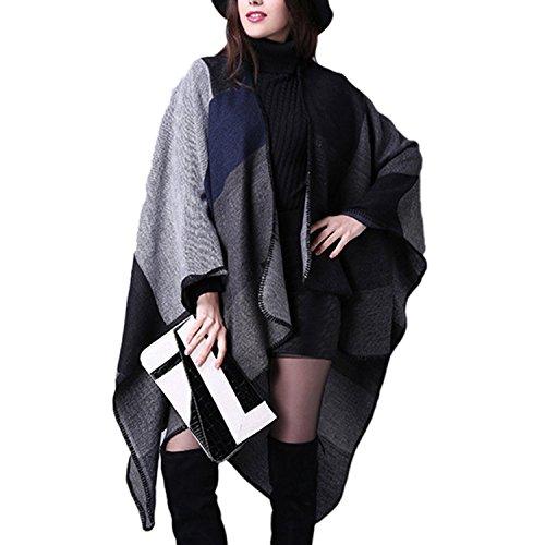 bufanda Poncho Aibayleef elegante c Cape Mujer cubierta Vintage Plaid Knitwear WRaAUaZwqX