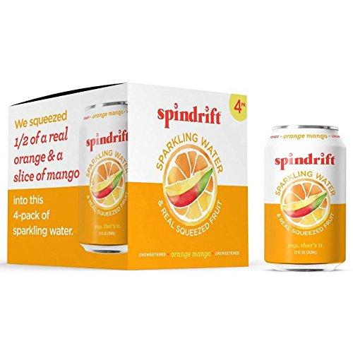 Spindrift Sparkling Water, 12 Fl. Oz. Cans (Pack of 4) (Orange Mango, 12 Fl. Oz. Cans (Pack of 4))