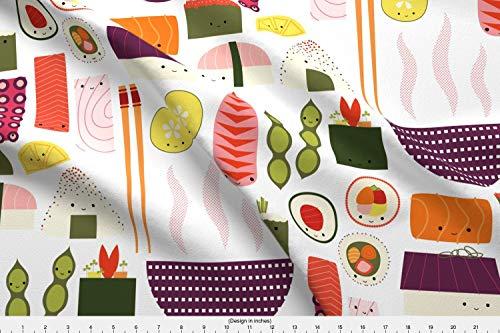 - Spoonflower Kawaii Sushi Fabric - Kawaii Sushi Nigiri Sashimi Fish Octopus Seaweed Cucumber - by Katerhees Printed on Basic Cotton Ultra Fabric by The Yard