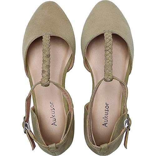 Aukusor Women's Wide Width Ballet Shoes - T-Strap Pointed Toe Casual Flat.(180315 BeigeMF 7.5) ()