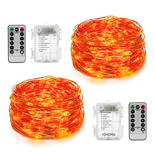 YIHONG 2 Sets 16.4ft Fairy String Lights Battery Operated with Remote Control