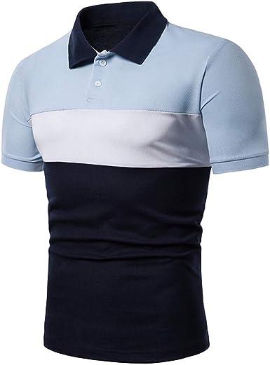 Camisas para Hombre Manga Corta Casual Slim Fit Contraste De Color Camisas Tipo Polo Bajar El Cuello: Amazon.es: Ropa y accesorios