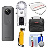 Ricoh Theta V 360-Degree Spherical 4K HD Digital Camera with TW-1 Underwater Housing + Case + Buoy Handle + Charger + Kit