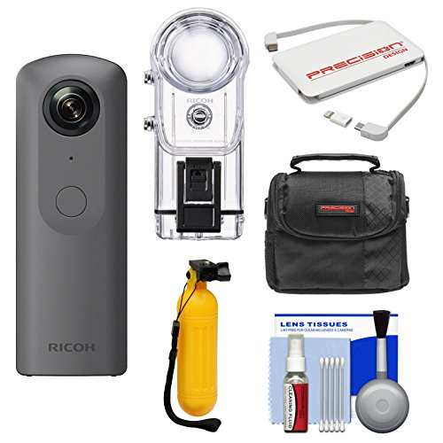 Ricoh Theta V 360-Degree Spherical 4K HD Digital Camera with TW-1 Underwater Housing + Case + Buoy Handle + Charger + Kit by Ricoh