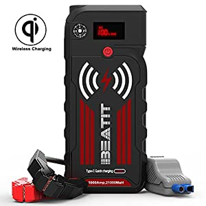 Beatit BT-G18 2000A Peak 21000mAh 12V Portable Car Jump Starter (up to 8.0L Gas and 8.0L Diesel) Auto Battery Booster With Smart Jumper Cables Wireless Charger