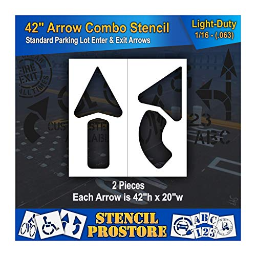 Pavement Stencils - 42 inch - Straight & Turn Combo Arrow KIT - (2 Piece) - 42