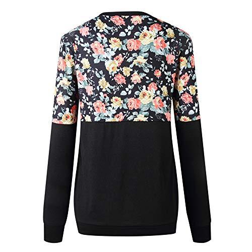 Automne T Femme Imprime Blouse Casaul Lache Manches Longues Shirt Sweat Col noir Rond Top Chemise Patchwork Shirt Dcontract BRqxwaCR