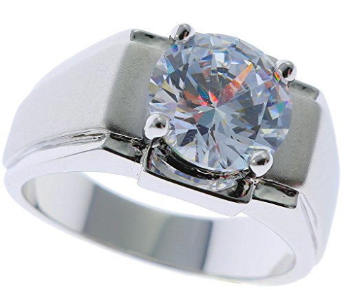 Stunning 5 Carat White Sapphire simulated Men's ring Platinum overlay size 12