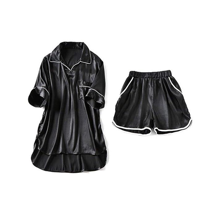 Mujer Pijamas Mujer Tops + Shorts 2 Pedazos Verano Conjunto ...