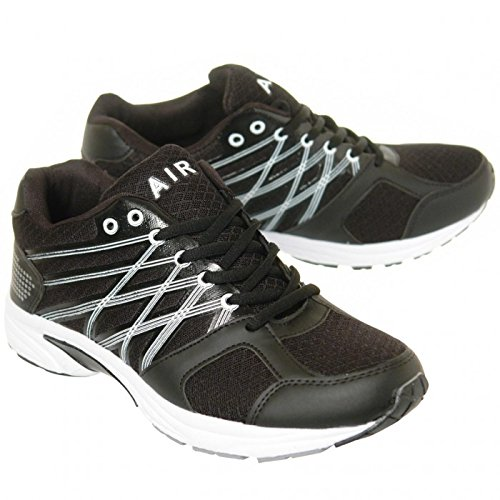 Up Lace Mens Boys Shoes Oslo Sports Casual Gym Size Air Trainers Tech Walking Running Black ngXznYU