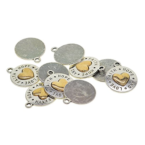 Baoblaze 10 Pieces Fashion Antique Silver Gold Plated Charms Pendants for jewelry making, crafting, cards, vintage, choker, necklace, jewelry design, 5 Styles to Choose - love hope faith heart - Charms Plated Gold Antique