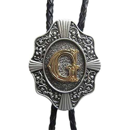 Rideaway Western Style Cowboy Antique Silver Bolo Tie, Letter G