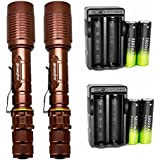 2 Pack LED Flashlights 5 Light Modes High Lumen Zoomable and Adjustable Focus Flashlight with 18650 Battery & Charger