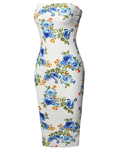 Super Sexy Comfortable Floral Tube Top Bodycon Midi Dress Ivory Blue M