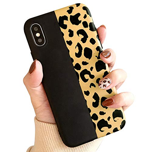 L-FADNUT for iPhone Xs Max Case, Fashion Colorful Leopard Print Case Chic Luxury Soft Phone Case Ultra Slim Shockproof Rubber Cover Protective Matte Back Case for Girls Women, Black (Print Leopard Colorful)