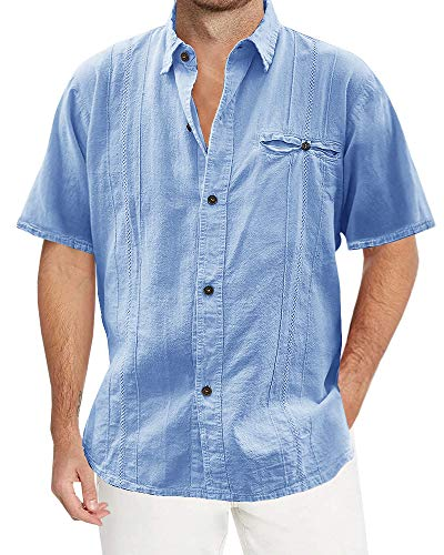 Makkrom Mens Loose Fit Cuban Camp Guayabera Linen Shirts Short Sleeve Casual Button Down Beach Shirts ()