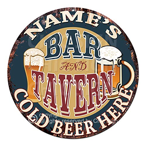 (Name's BAR and Tavern Cold Beer Here Custom Personalized Chic Tin Sign Rustic Shabby Vintage Style Retro Kitchen Bar Pub Coffee Shop Man cave Decor Gift Ideas)