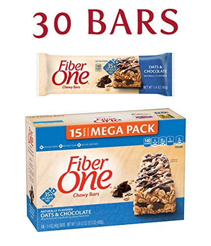 Fiber One Chewy Bar, Oats and Chocolate, 15 Fiber Bars Mega Pack, 21.2 oz (Pack of 2) (Packaging may vary) (Bar 1)