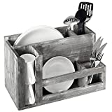Barn Wood Gray Dish Rack & Utensil Caddy, Wall Mounted or Free Standing Plate Holder Kitchen Organizer