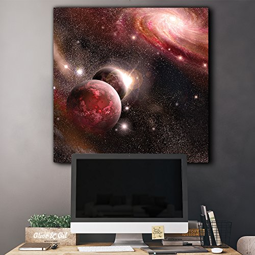 Red Starry Galaxy with Floating Planets