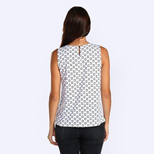 Tops Dcontracte Shirt Manche sans Femmes Impression Sexyville Col Blanc Chemisier Dbardeur Vest T Rond FqP0II