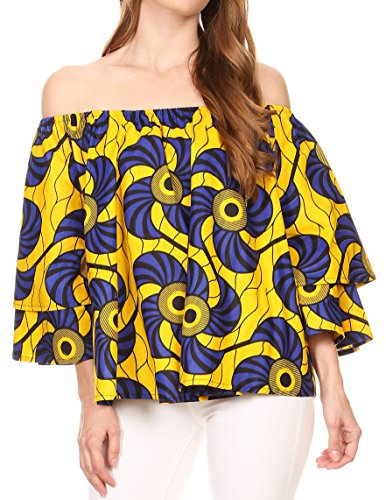 Sakkas DRT166 - Omari Off-Shoulder Bell Sleeve Blouse Top Relax Fit Ankara African Wax - Yellow Blue/Fan - (African Outfit)