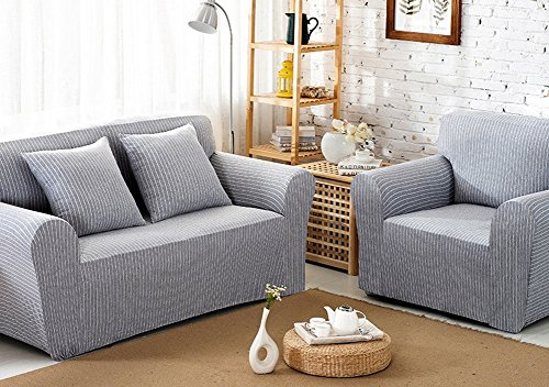 Cotton Fabric Loveseat - ChezMax Striped Pattern Soft Cotton Fabric Sofa Cover 1 Piece Thicken Strenched Love Seat Sofa Slipcovers Grey