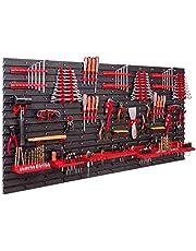 Opbergsysteem, wandrek, 158 x 78 cm, gereedschapshouders, opbergkast, extra sterke wandplaten, uitbreidbaar, werkplaatsrek, opbergrek, werkplaatswandrek, steekrek