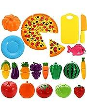 NIWWIN 24 stuks Fantasiespeelgoed Kunststof keuken Snijden Groenten en fruit Pizza Spelen Voedselset voor Educatief Puzzelontwikkeling Leren Speelgoed